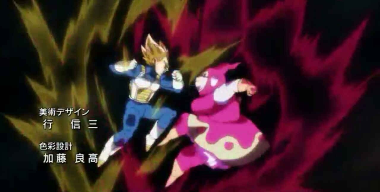 Brianne de Chateau fighting with Vegeta in opening song of Dragon Ball Super