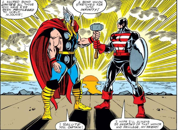 Thor Vol. 1 #390 Thor and Captain America shared Mjolnir