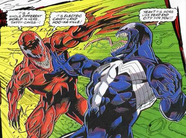Venom: Carnage Unleashed #4 both symbiote fighting in the internet