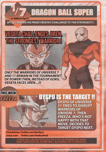 Weekly Shonen Jump English preview of Dragon Ball Super episode 122