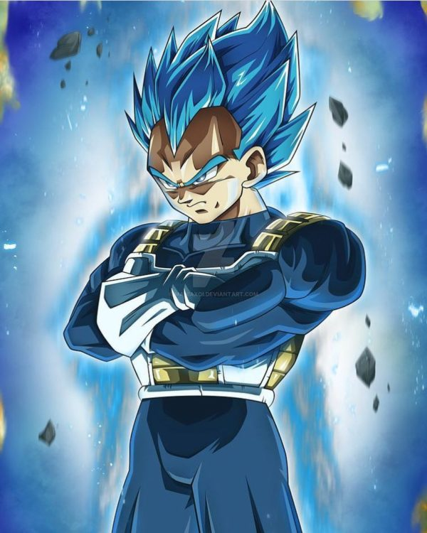 Perfected Super Saiyan Blue Vegeta in DBS episode 123