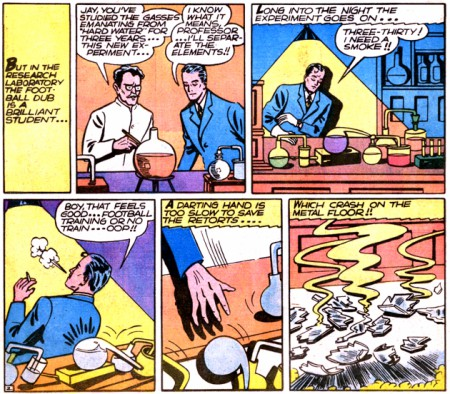 Jay Garrick in his lab and accidently becomes the flash