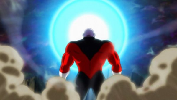 Goku using Spirit Bomb against Jiren