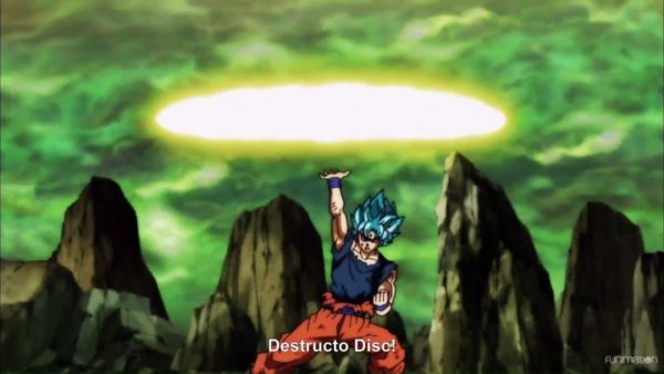 Super Saiyan Blue Goku using Destructo Disc
