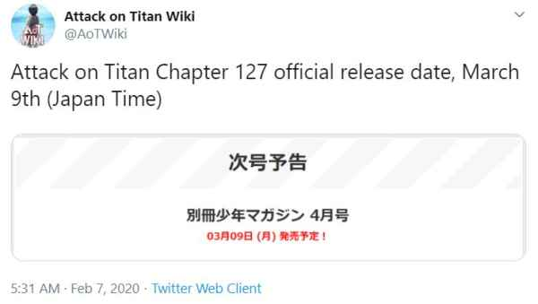 attack on titan manga chapter 127 release date
