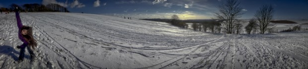 Brighton Snow Landscape with girl with ioS panoramic iPhone