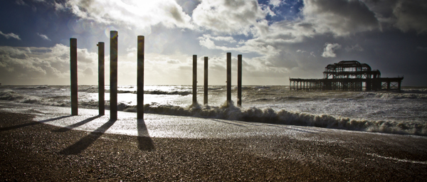Brighton storm at west pier