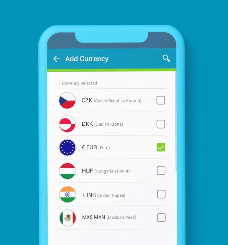 SendSpend add currency screenshot