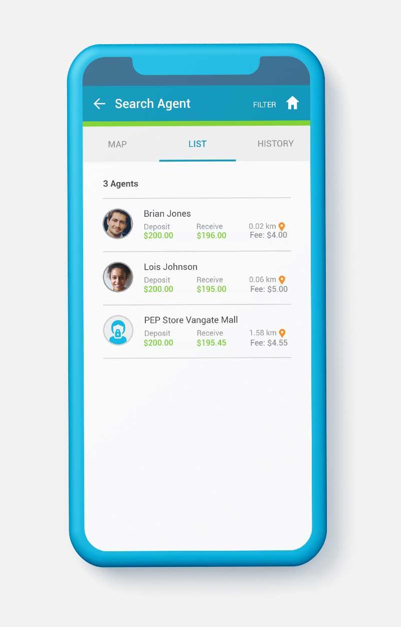 SendSpend List of agents - screenshot