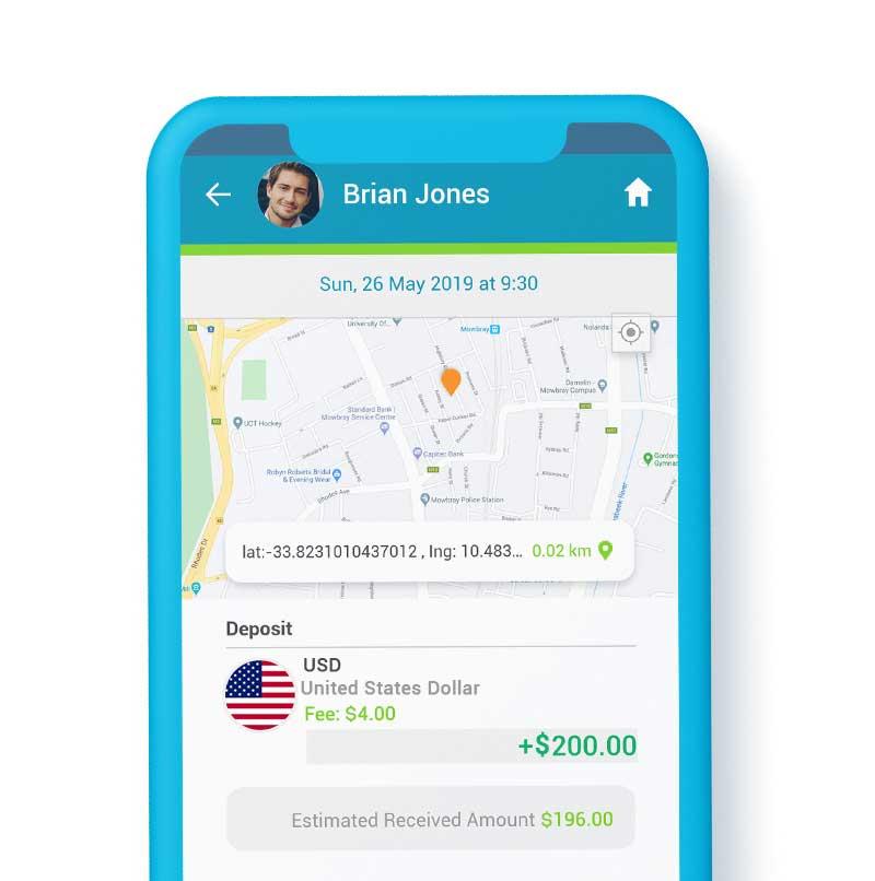 SendSpend GPS & Map functionality screenshot