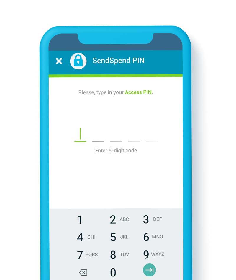 SendSpend Security PIN screenshot