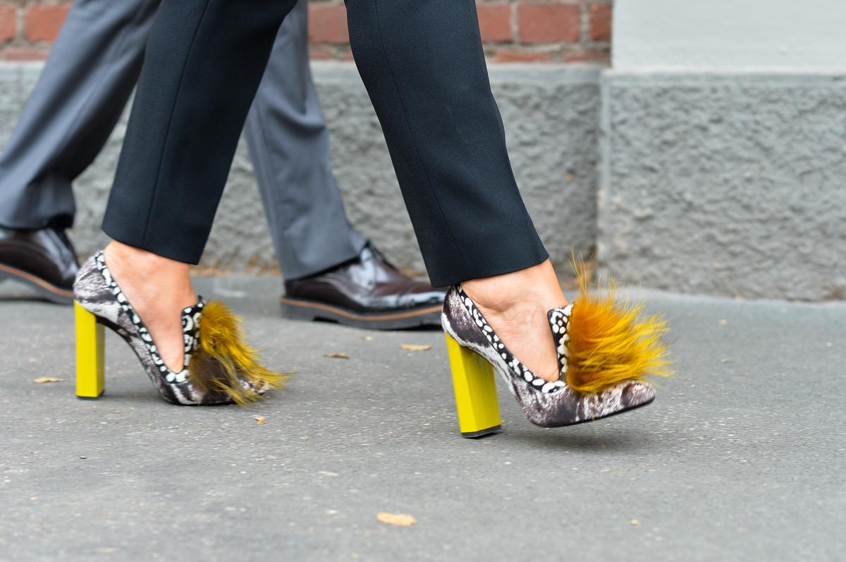 Fendi fur heels, Outside the Show
