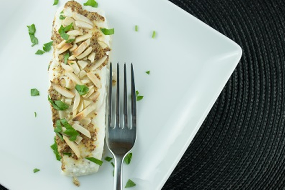 Halibut With Dijon And Almonds