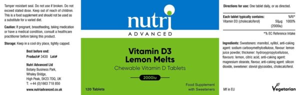 vitamin D3 2000iu lemon melts