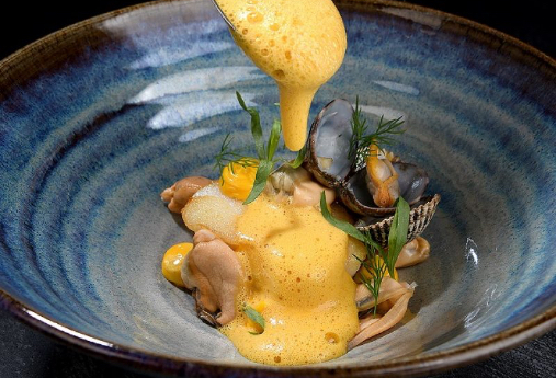 Atlantic Codling, Mussels and Clams, Wood Sorrel, Seafood Sauce.