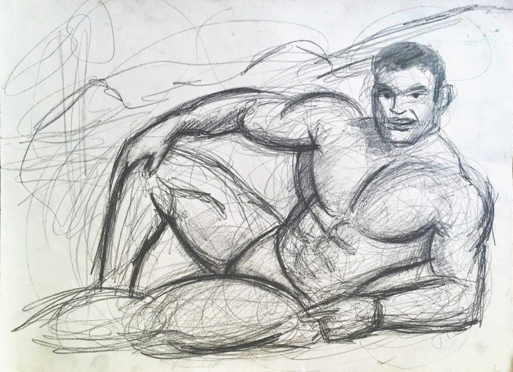 Zeichnung Murat Önen - Hyper Masculinity - Leipzig 2018