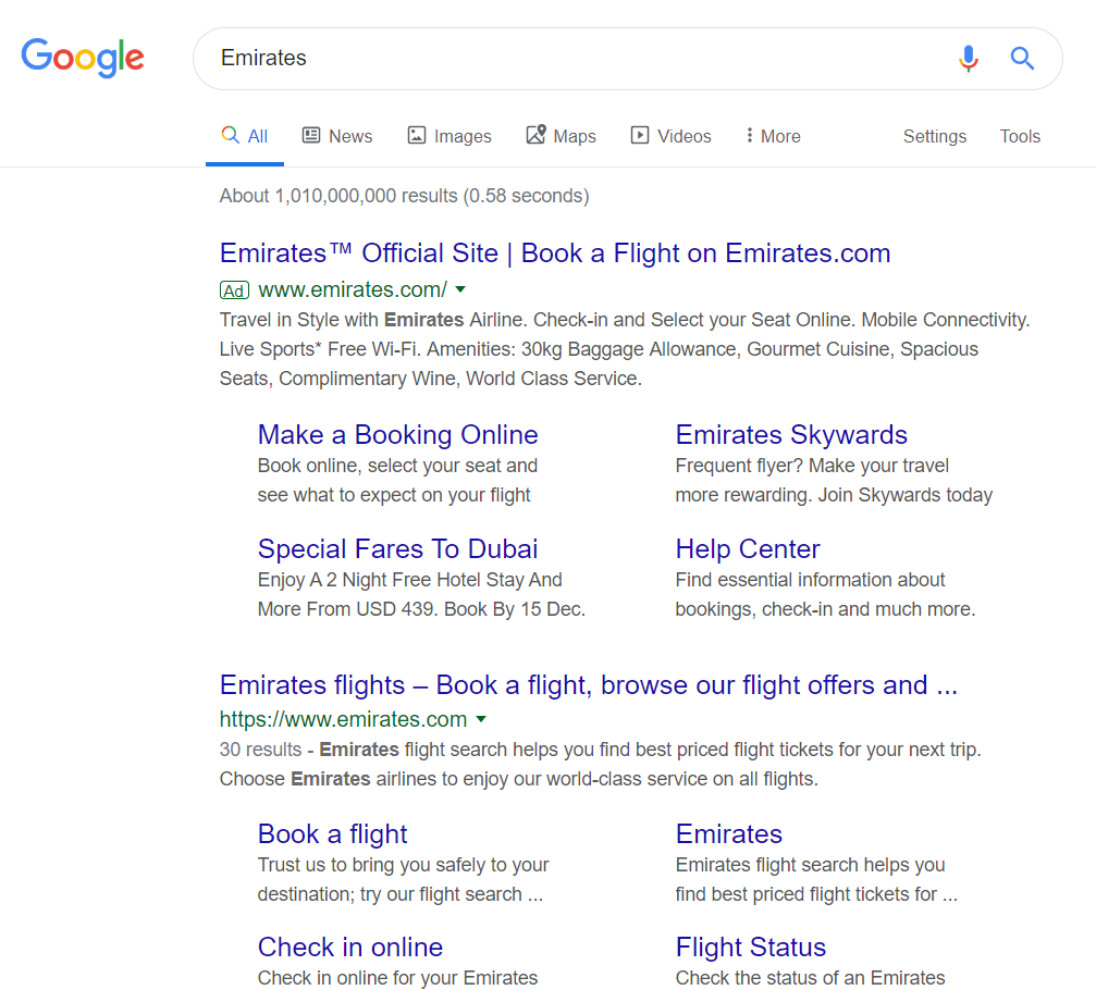 SERP Emirates Explaining Top Terms When Using Google Ads
