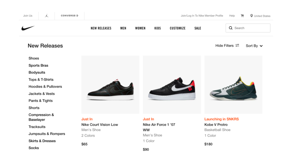 Example: Nike Online Store Landing Page