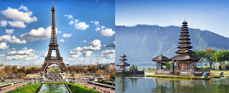 Paris and Indonesia are considered among best honeymoon destinations in the world.
