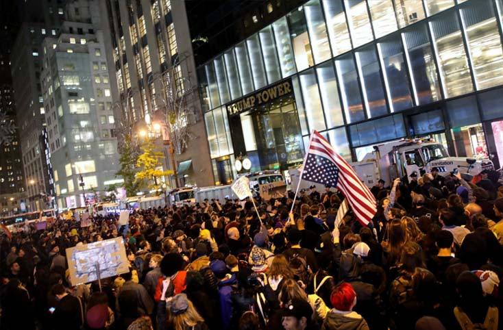 thousands of protestors protested against Trump in New York.