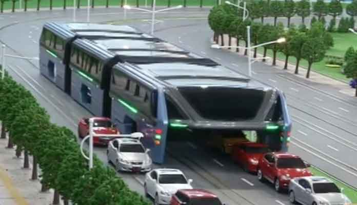 Chinese Straddling Bus Comes to A Stand Still