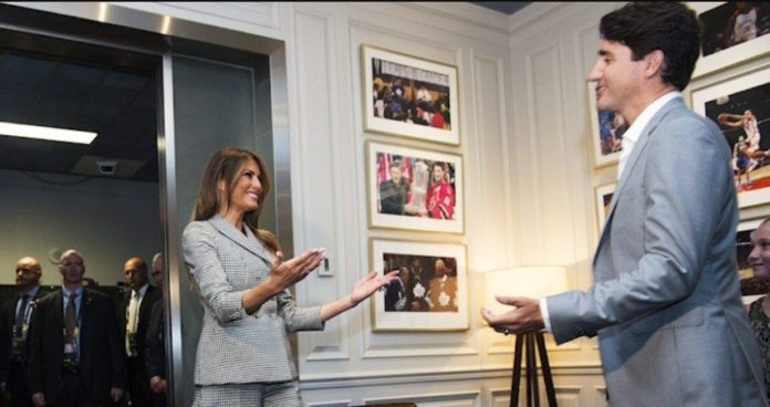 US First Lady with Canadian Prime Minister