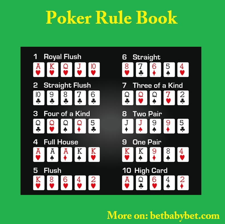 Shows the Poker Rule Book Royal Flush, Straight Flush, Four of a Kind, Full House, Flush, Straight, Three of a Kind, Two Pair, One Pair, High Card
