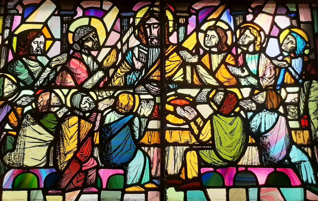 Stain glass of of last supper