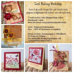 cardmaking, workshop in bangalore, stencils, stamping