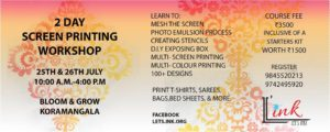 screen printing, craft workshops, craft classes, onam