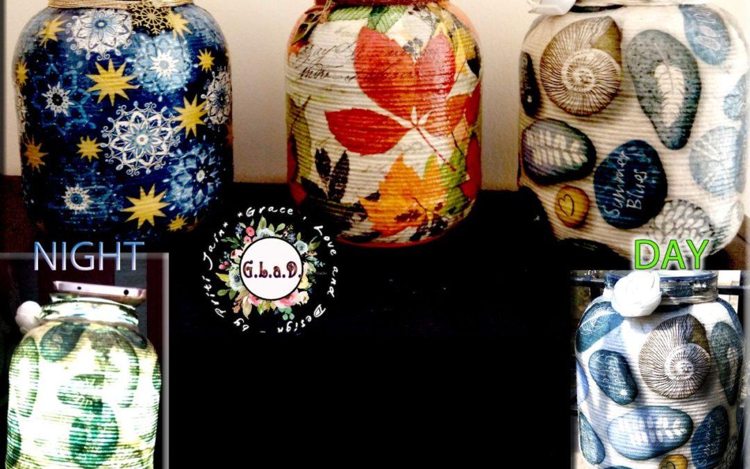 Threaded Decoupage on Glass Pot – Decoupage workshop in Bangalore