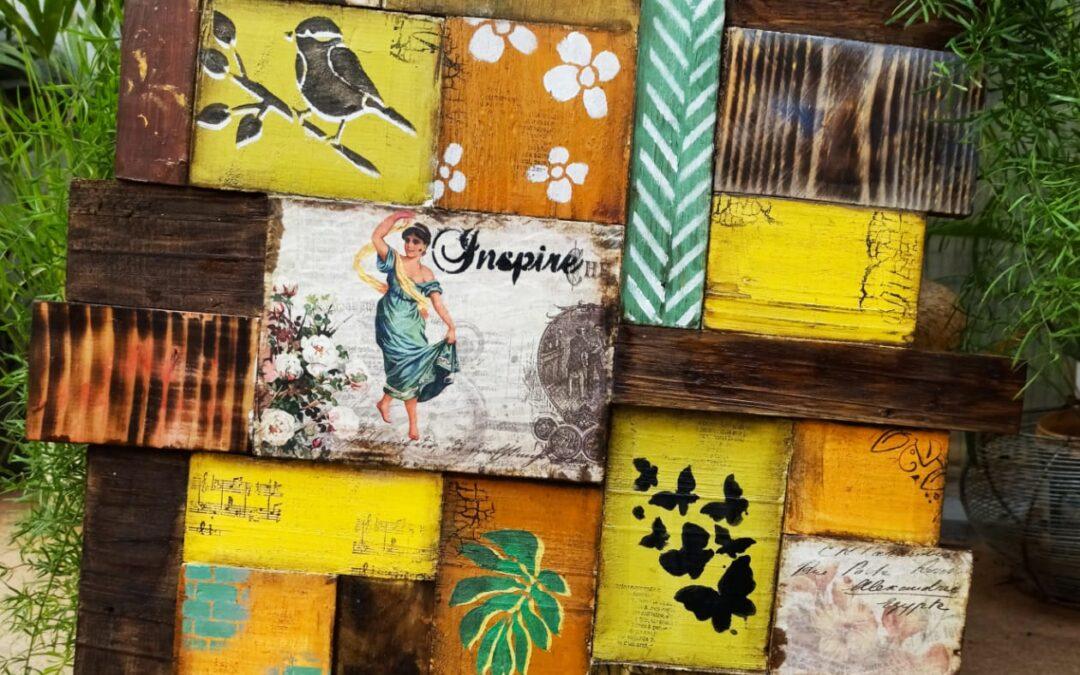 Scrap wood block panel wall decor