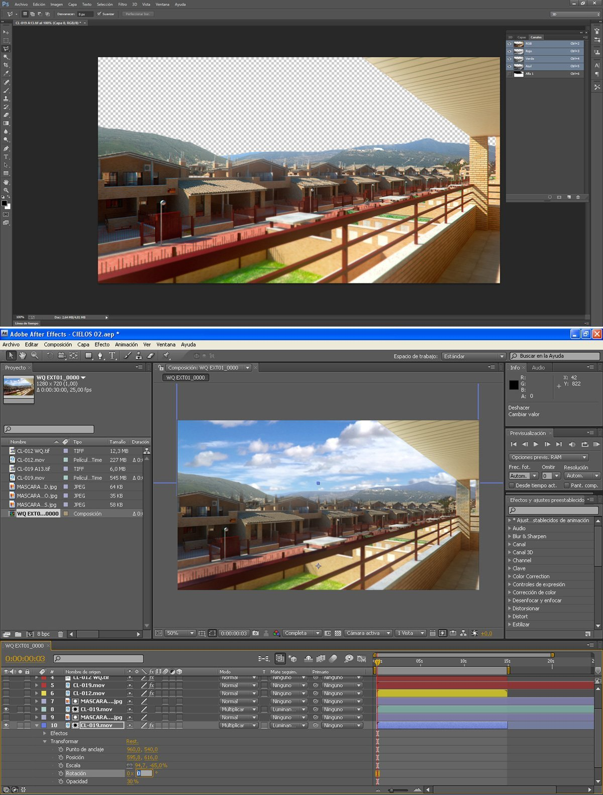 animation troubles setting alpha channel to include a sky timelapse in post production