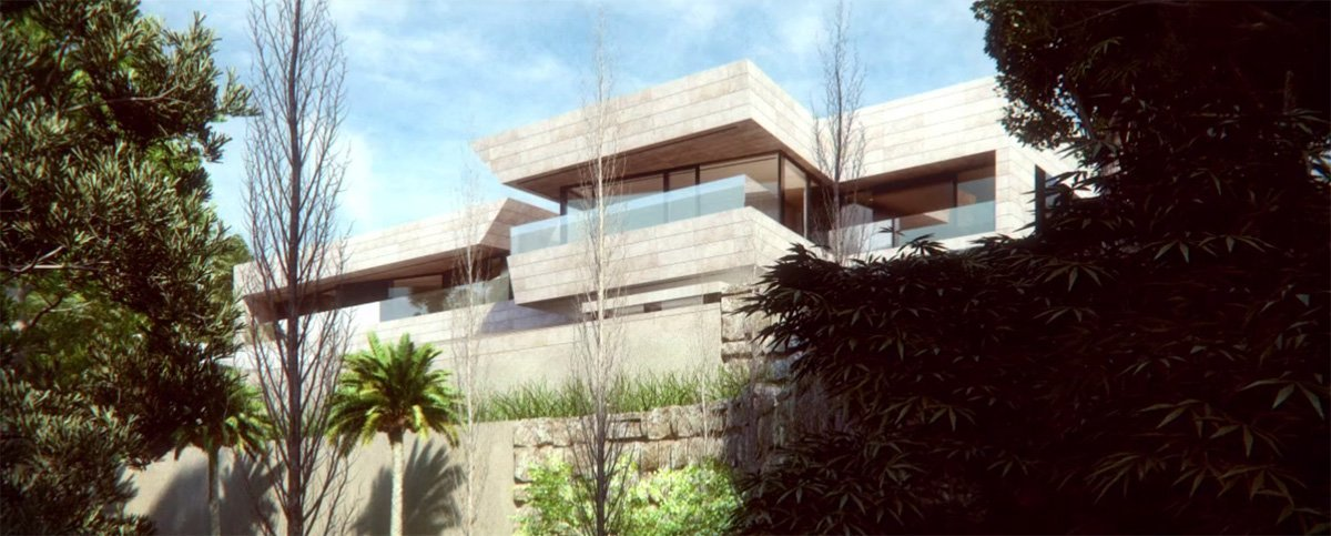 render exterior view of this luxury single house at Marbella of A-cero architects