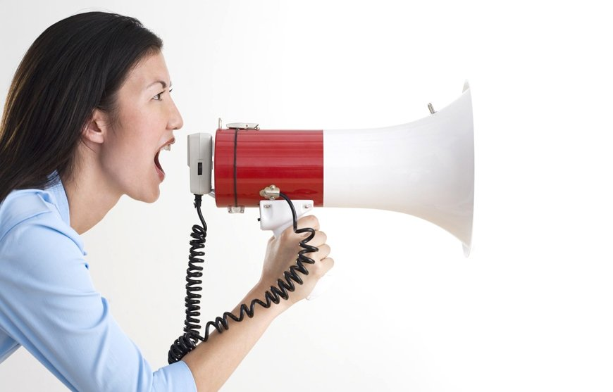 woman screaming with megaphone