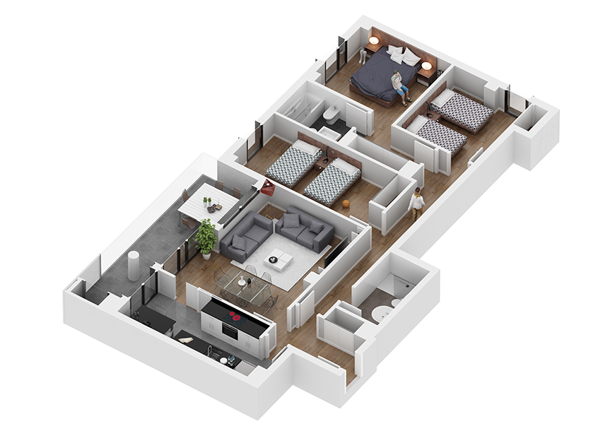 architectural 3d floor plans render axonometric flat view by GAYARRE infografia