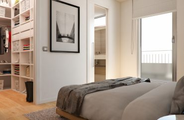 render interior bedroom view of Besol block of flats at Zaragoza