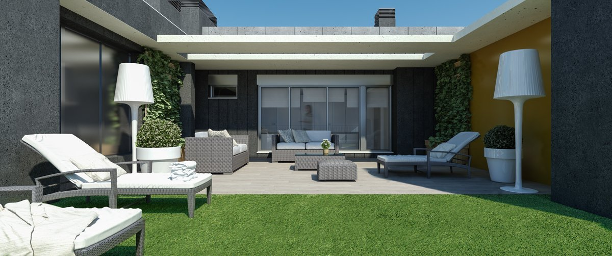 render interior penthouse terrace view of Besol block of flats at Zaragoza