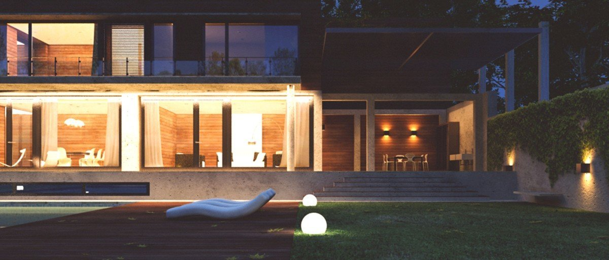 render exterior night view of a single house by GAYARRE infografia