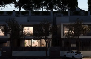 Night render image front view of Oxalis residential at Cambrils