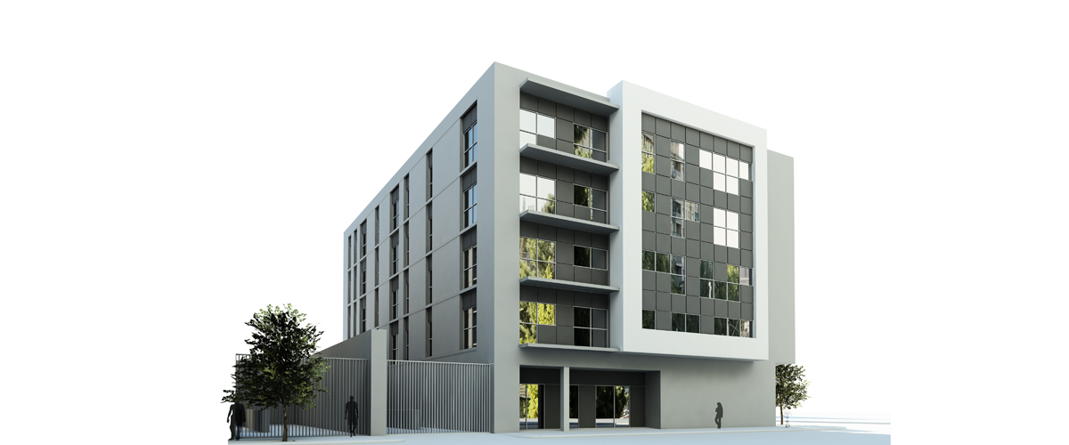 Render exterior block of flats for architectural contest