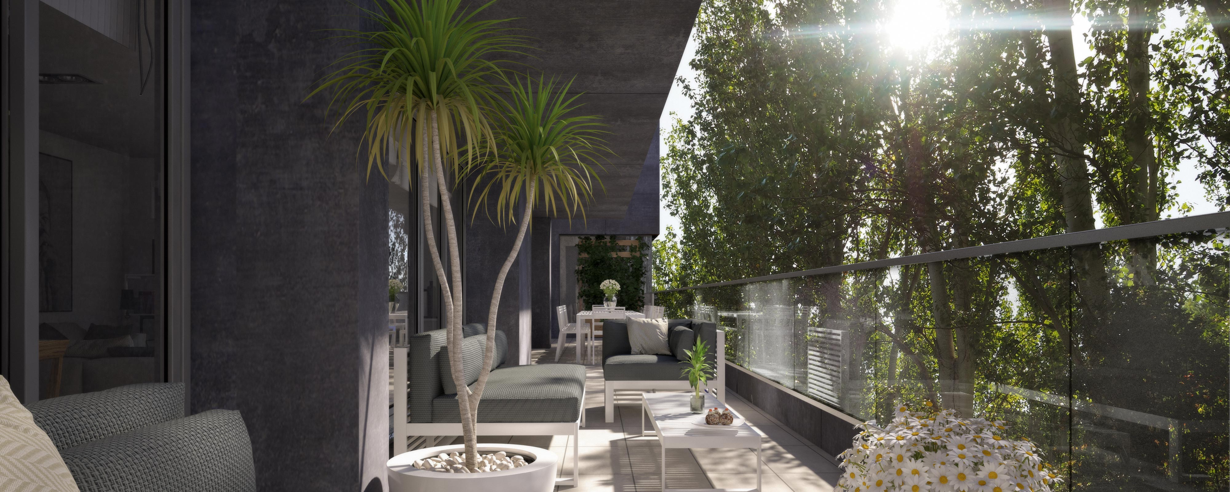 render exterior terrace view of Sausalito residential by GAYARRE infografia