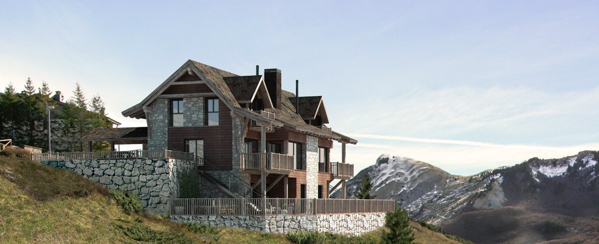 render exterior photomontage view of Gran Piolet attached houses at Formigal Huesca