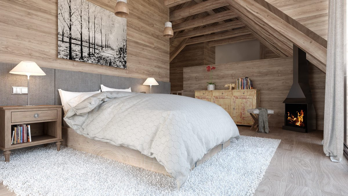 render interior bedroom view of Gran Piolet attached houses at Formigal Huesca