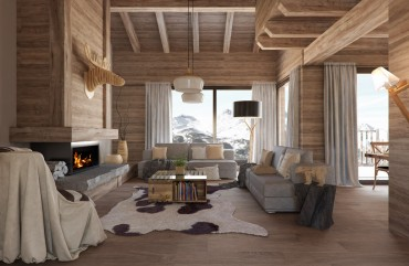 render interior view of Gran Piolet attached houses at Formigal Huesca