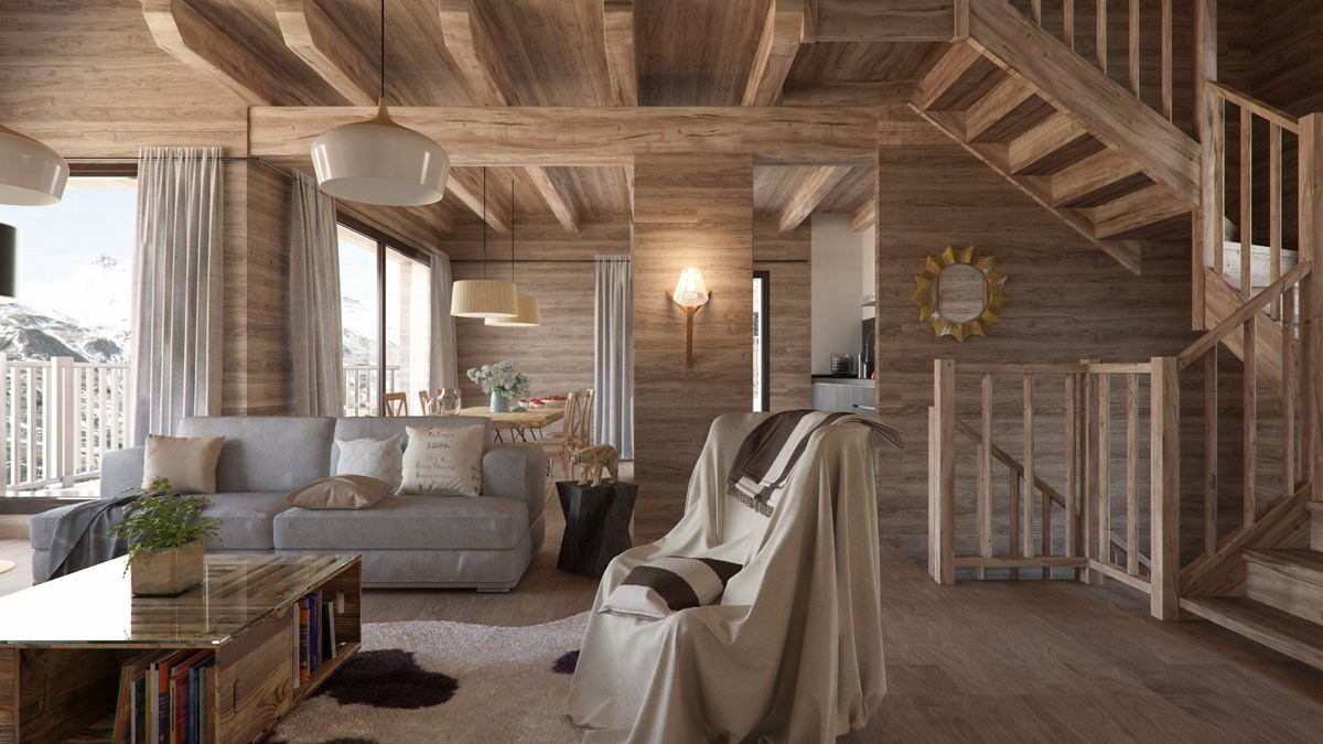render interior living room view of Gran Piolet attached houses at Formigal Huesca