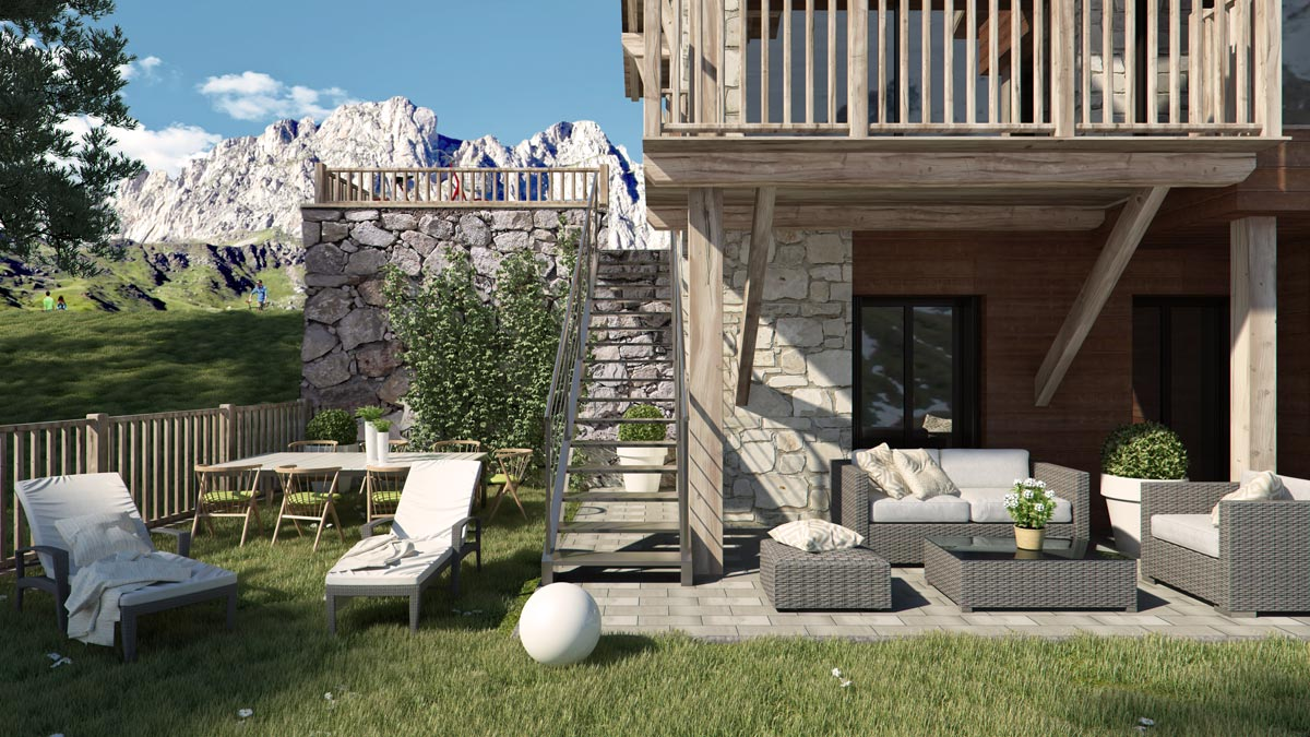 render exterior private garden view of Gran Piolet attached houses at Formigal Huesca