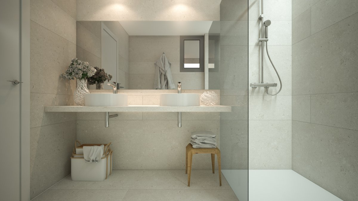 render interior bathroom view of Sausalito residential