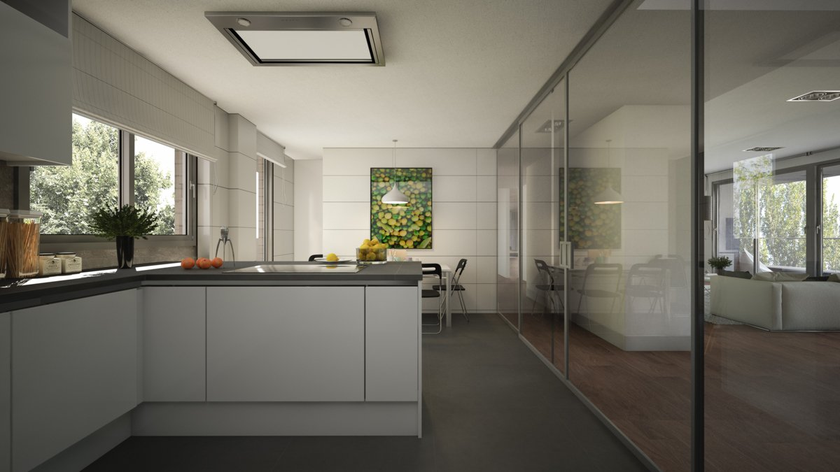 render interior kitchen view of Sausalito residential