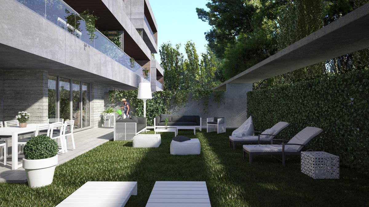 render exterior private garden view of Sausalito residential